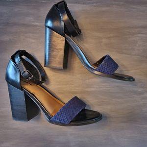 🌈Torrid Black chunky heel Navy Braided strap